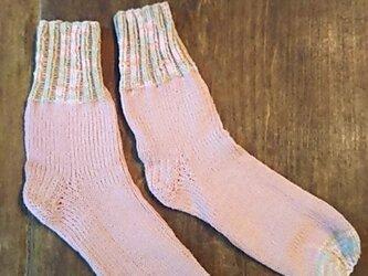 ピンク&マーブル★コットン100%★手編み靴下★ソックス★冷え対策★夏糸の画像