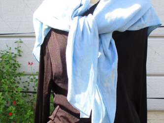 ダブルガーゼの藍染めストールの画像