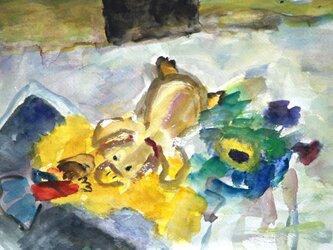 カモノハシと絵本の中の少女の画像