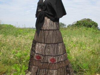 着物リメイク 泥大島のティアードスカート    裏付きの画像
