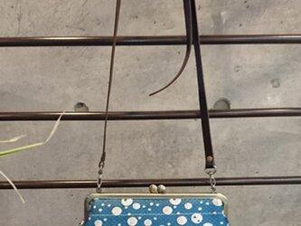 撥水加工済み  絹織物西陣織 がま口ポーチバック ドット水 銀糸の画像