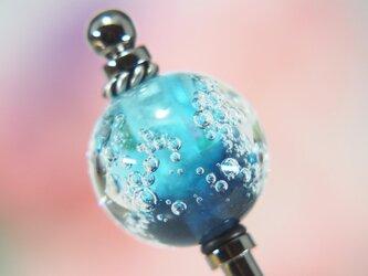しゅわしゅわとんぼ玉のかんざし 水色✕紺の画像