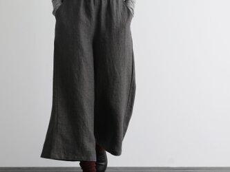 ウエストが楽な着やせワイドパンツ 三色 ダークグレー 200907-1の画像