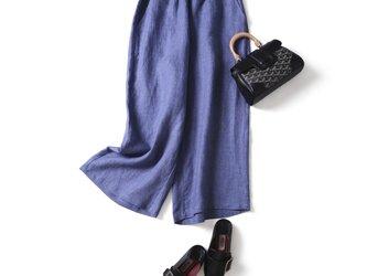 ウエストが楽な着やせワイドパンツ 三色 ブルーグレー  200907-3の画像