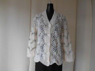 アイボリーモヘアの透かし編みカーディガンの画像