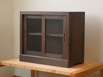 框組みの小さな戸棚 茶黒 クリアガラスの画像