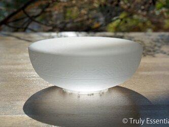 無色透明 つや消しガラスのインテリアトレイ -「 灯りのたね 」● 12cmの画像