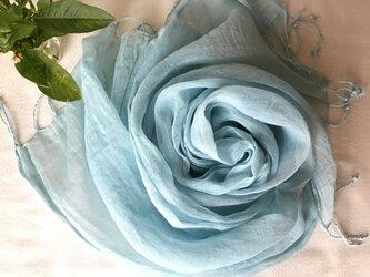 【藍の生葉染め】コットン&シルクストール 水浅葱色の画像