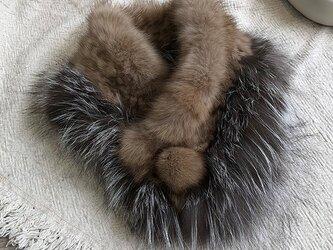 ¶ new antique fur ¶ ロシアンセーブル&シルバーフォックススヌードマフラーの画像