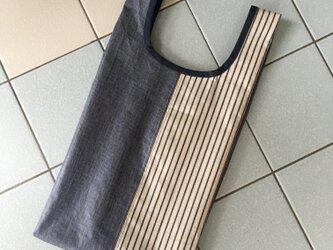 デニムラミネート生地・・コンビニ弁当にも対応するバッグ(ストライプ)の画像