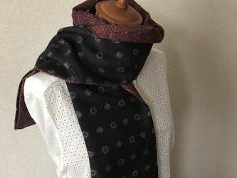 ヴィンテージ着物からストールへ 紬と小紋のコラボの画像