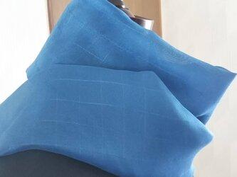 藍染 シルク ストール 格子Ⅱの画像