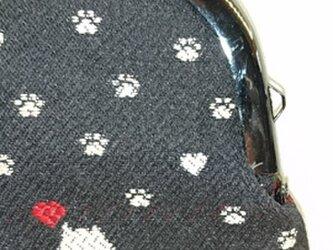 絹織物西陣織 3.3寸 ネコ一匹ハート赤表黒裏赤の画像