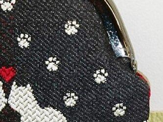 絹織物西陣織 2.6寸 ネコ二匹ハート赤表黒裏赤の画像