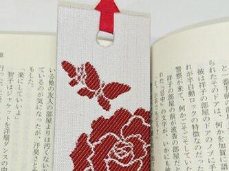 絹織物西陣織しおり バラと蝶々(白地に赤)の画像