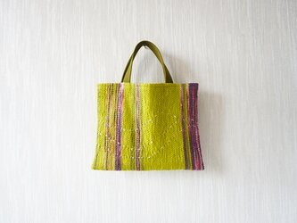 【受注製作】裂き織りのちょっとそこまでバッグ  グリーンティにゆらゆらラインの画像