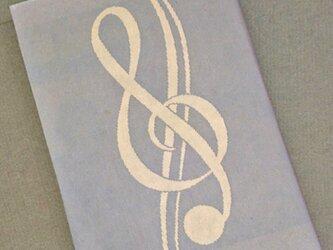栞付き・和紙ブックカバー(文庫本サイズ)グレー地にピンクの音符の画像