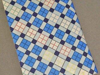 栞付き・和紙ブックカバー(文庫本サイズ)チェック・ブルーの画像