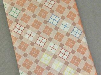 栞付き・和紙ブックカバー(文庫本サイズ)チェック・ピンクの画像