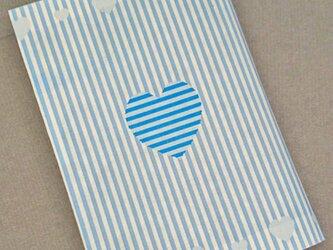 栞付き・和紙ブックカバー(文庫本サイズ)ブルーハートの画像
