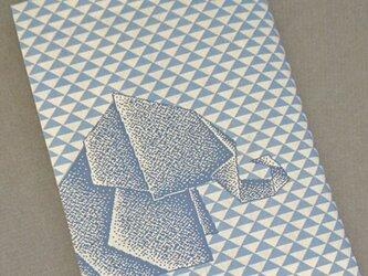 栞付き・和紙ブックカバー(文庫本サイズ)折り紙ゾウ・ブルーの画像