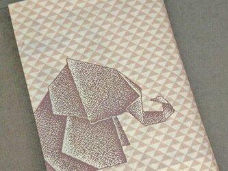 栞付き・和紙ブックカバー(文庫本サイズ)折り紙ゾウ・ピンクの画像