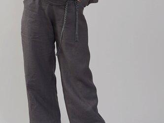 【wafu】少し丈短め 中厚リネン ペインターパンツ リネンパンツ/黒橡(くろつるばみ) b004b-ktb2の画像