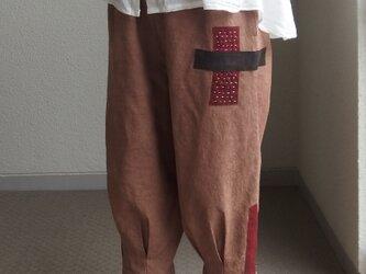柿渋!裾しぼりのパンツ ●86センチ丈● 裏地なし の画像