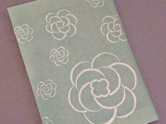 栞付き・和紙ブックカバー(文庫本サイズ)グリーン地に花の画像
