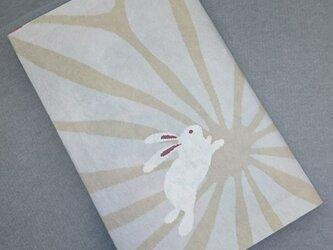 栞付き・和紙ブックカバー(新書サイズ)麻の葉にうさぎベージュの画像