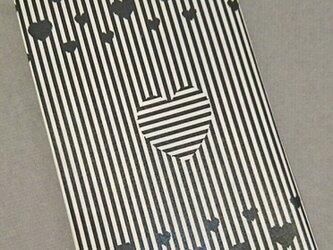 栞付き・和紙ブックカバー(新書サイズ) 黒ハートの画像