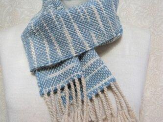 草木染毛糸の手織りマフラー M-118の画像