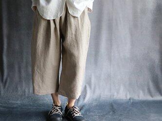 国産リネンバルーンパンツ:ベージュの画像