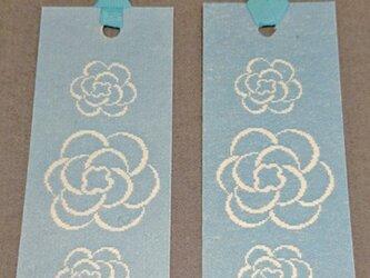 和紙しおり ブルー地に花の画像