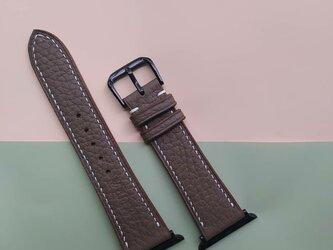【永久保証】新作 高級革使用のApple Watchベルト 時計ベルト エトゥープ色 レザー 腕時計 革ベルト 皮 革の画像
