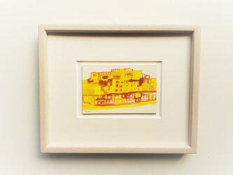 「石畳の町並み」イラスト原画 ※木製額縁入りの画像