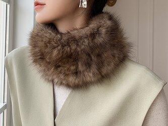 ¶ new antique fur ¶ ロシアンセーブル編み込みストレッチスヌード/ヘアバンドの画像
