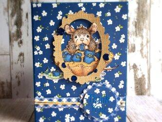 ブルーベリータルトとマウス♪サンキューカードの画像