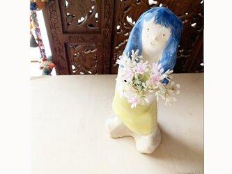 【オーダー】青い髪フラワーポット全身像の画像