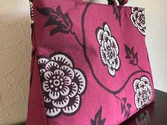 花唐草模様の袋帯 三角マチの手提げの画像