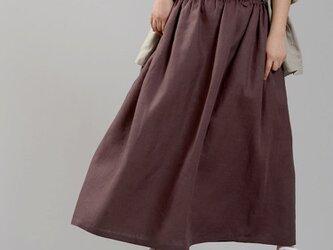 【wafu】中厚リネン ハイウエスト風ギャザースカート 先染めlinen100%/小豆色(あずきいろ) s005a-azk2の画像