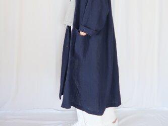 秋の新作♡強撚リネン・オーバーサイズコート・ネイビー・こなれ感の画像