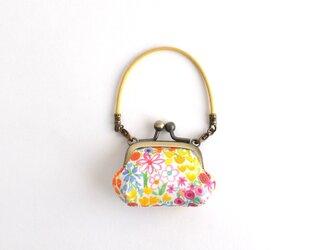 """花柄 ミニミニがまぐち ハンドバッグ - Liberty """"Poppy's Meadow"""" - Yellow〔099〕の画像"""