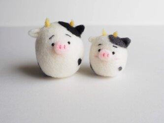 【受注製作】2021年干支(丑) まゆうし(牛)親子(単品) 羊毛フェルトの画像