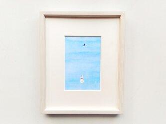 原画「キミを想う」水彩イラスト ※木製額縁入りの画像
