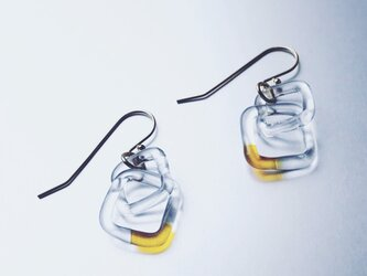Square Chain Earring / Amberの画像