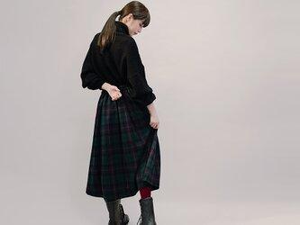 秋冬 ウール 紺×赤×緑 タータンチェック ロングスカート ●JOELLE●の画像