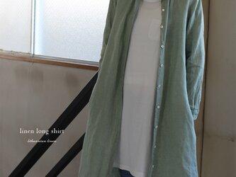 【追加SALE】アースグリーン リトアニアリネン100% ロングシャツワンピースの画像