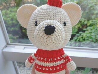 あみぐるみ くま 編みぐるみ プレゼント ハンドメイド 男の子 出産祝い 女の子 お部屋飾り 手編みの画像