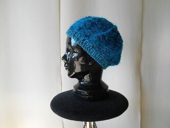 エメグリーンモヘアのスパンコールベレー帽の画像